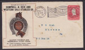 US Sc U387 used 1906 Campbell & Reid and Western Sales Stables Advertising Cover