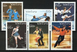 Laos 1989, Olympics Alberville 92, figure skating, full set MNH