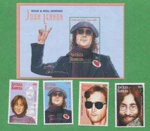 JOHN LENNON Commemorative Rock & Roll Legends Stamps - Antigua E27