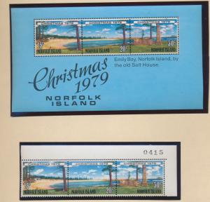 Norfolk Island Stamp Scott #253a, 253b, Mint NH, Strip & SS, Christmas 1979 -...