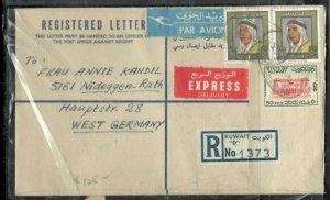 KUWAIT COVER (P0206B) 1973 50FX2+50F REG A/M EXPRESS KUWAIT D TO GERMANY