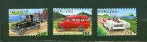 Faroe Islands. Complete  Set 3 Stamp 2011 Mnh.Classic,Veteran Cars. 3 x 13 Kr