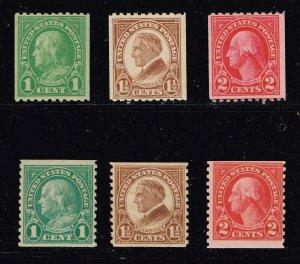 US STAMP #597-599, #604-606  – 1923-29 COIL STAMPS LOT MNH/OG
