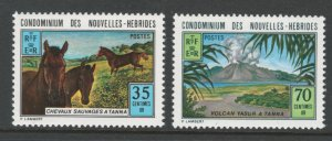 French New Hebrides 1973 Wild Horses & Yasur Volcano Scott # 196 - 197 MH