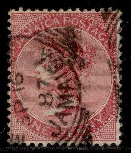 JAMAICA QV SG18, 1d rose, FINE USED.