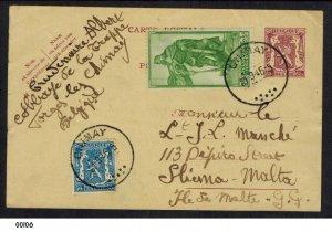 Belgium 1945 Uprated Post Card to Malta