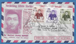 NETHERLANDS ANTILLES 1960 MSGR. NIEWINDT Set Cachet FDC Sc 269-271