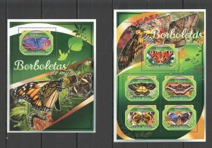 ST839 2016 GUINEA-BISSAU BUTTERFLIES FLORA INSECTS KB+BL MNH STAMPS