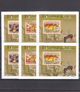 Guinea, 2007 issue. Bees & Orchids, Perf & Imperf on 6 Deluxe s/sheets. ^