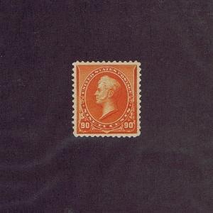 SC# 229 UNUSED ORIGINAL GUM LH 90 CENT PERRY, 1890, EXTRA FINE, REPERFED AT TOP