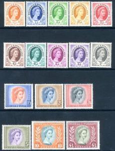 RHODESIA & NYASALAND-1954-56 Set to £1 Sg 1-15 MOUNTED MINT  V15289