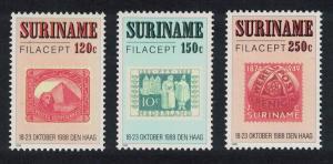 Suriname 'Filacept' International Stamp Exhibition The Hague 3v SG#1385-1387