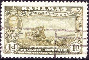 BAHAMAS 1948 KGVI 1d Sage-Green SG179 Used