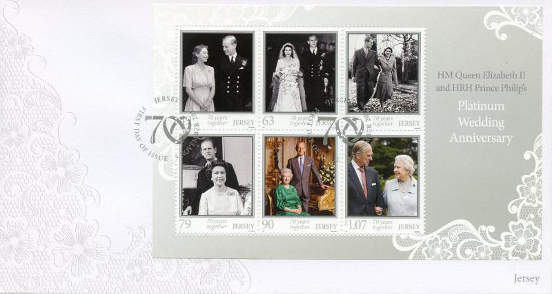 Jersey 2017 FDC Queen Elizabeth II Platinum Wedding 6v M/S Cover Royalty Stamps