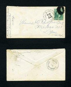 Cover from Marlborough, Massachusetts to Lynn, Massachusetts dated 8-18-1880's