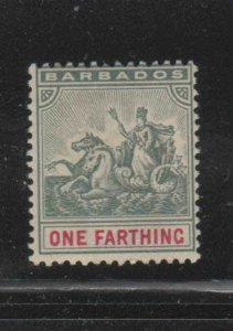 BARBADOS #70  1896  1f     BADGE OF THE COLONY  MINT  F-VF  NH  O.G  aa