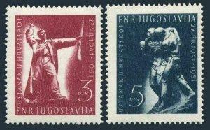 Yugoslavia 331-332,MNH.Mi 662-663. Croatian insurrection,10th Ann.1951.Monument.