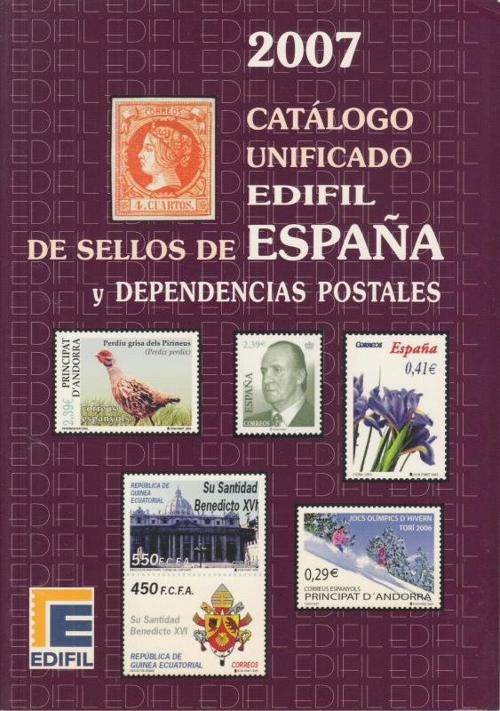 Edifil 2007 Spain stamps and postal stationery, full color, priced in €uros, NEW