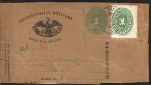 J) 1884 MEXICO, NUMERAL, 1 CENT GREEN, MEXICAN POSTAL SERVICE, EAGLE, PRINTED PA