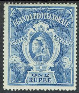 UGANDA 1898 QV LIONS 1R BRIGHT BLUE