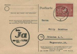 Germany Soviet Zone 24pf 3rd German People's Congress 1949 (10a) Dresden A41 ...