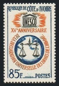 Ivory Coast 211,MNH.Michel 258. Declaration of Human Rights,15th Ann.1963.