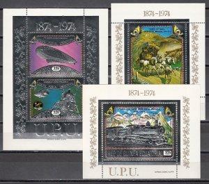 Equatorial Guinea, Mi cat. 390-393, BL111-113 A. 100th Anniversary U.P.U.. ^