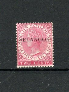 Malaysia - Selangor 1890 2c Straits Settlements opt MLH