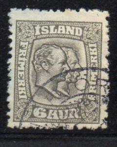 Iceland Sc 75 1907 6 aur gray & gray brown 2 Kings stamp used