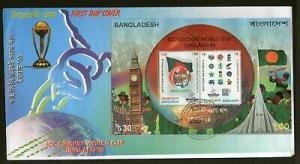 Bangladesh 1999 ICC Cricket World Cup England Flags Tiger M/s on FDC # 725