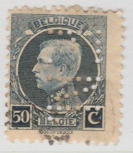 Perfin Belgium 1921-25 50c Used Stamp A19P48F965