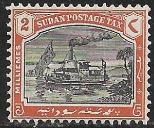 SUDAN 1927-30 2m STEAMBOAT ON NILE Postage Due Sc J9 MH