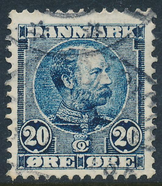 Denmark Scott 66 (AFA 48), 20ø blue Christian IX, F-VF used