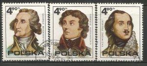 POLAND 2122, A-C  USED, AMERICAN REVOLUTION BICENTENARY