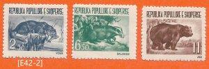 [E42-2] Albania 1961, Wildlife, Mi.627-629, MNH