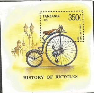 J) 1992 TANZANIA, BYCICLE, HISTORY OF BYCICLES, SOUVENIR SHEET