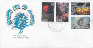 Jamaica FDC 495-8 Marine Life 4 Stamps 1981