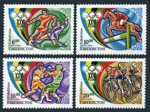 Uzbekistan 114-117,MNH.Michel 120-123. Olympics Atlanta-1996.Soccer,Equestrian,