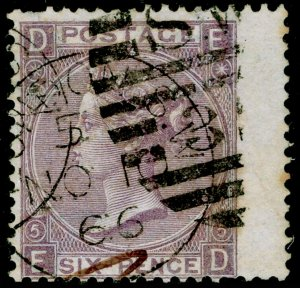 SG97, 6d lilac plate 5, USED. Cat £140. ED