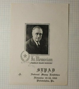 SEPAD Natl Stamp Exhibition Phila PA Franklin D Roosevelt Philatelic Souvenir Ad