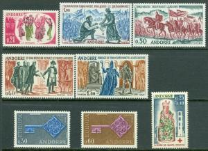 EDW1949SELL : FRENCH ANDORRA 1963-68 Scott #155-57, 59-60, 82-83, B1 Cplt sets.