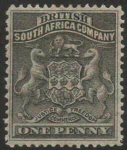 RHODESIA-1892-93 1d Black Sg 1 MOUNTED MINT V37839