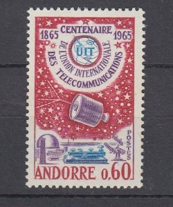 J29358, 1965 french andorra set of 1 mh #167 space