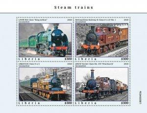 2020/10- LIBERIA - STEAM TRAINS       4V    MNH **