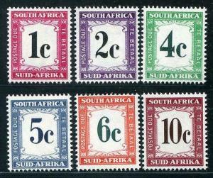 HERRICKSTAMP SOUTH AFRICA Sc.# J46-51 1961 New Design Dues Mint NH