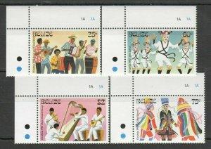 W1333 BELIZE CULTURE MUSIC DANCE CHRISTMAS 1993 #1116-19 MICHEL 8,5 EURO SET FIX