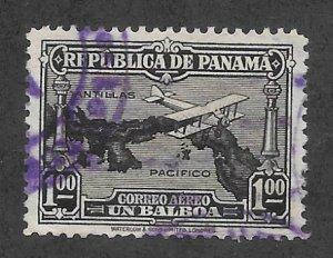 PANAMA Scott #C14 Used $1.00 Bi-plane/Map Airmail stamp 2017 CV $4.00