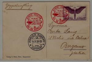 Switzerland Zeppelin card 14.9.30 Geneve