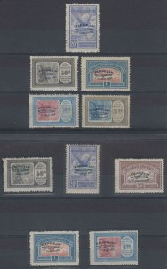 ARGENTINA 1930 GRAF ZEPPELIN Sc C20-C29 TWO FULL SETS HINGED MINT F,VF SCV$1,091