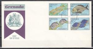 Grenada, Scott cat. 1867-8, 1871, 74. Various Fish, Part 1. First day cover.